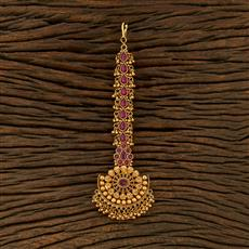 208316 Antique South Indian Tikka With Matte Gold Plating