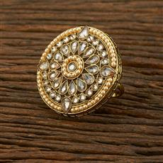 208321 Antique Classic Ring With Mehndi Plating