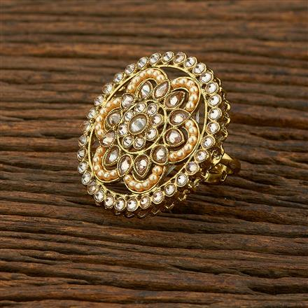 208322 Antique Classic Ring With Mehndi Plating