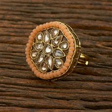 208323 Antique Classic Ring With Mehndi Plating