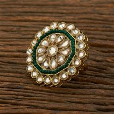 208325 Antique Classic Ring With Mehndi Plating