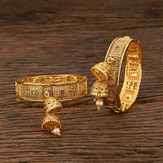 208345 Antique Openable Bangles With Gold Plating