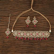 208377 Antique Choker Necklace With Mehndi Plating