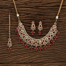 208378 Antique Classic Necklace With Mehndi Plating