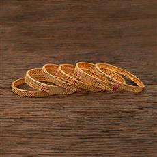 208380 Antique Classic Bangles With Matte Gold Plating