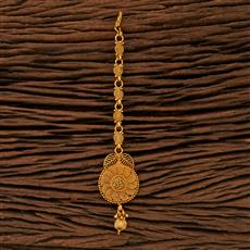 208384 Antique Plain Tikka With Gold Plating