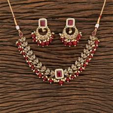 208397 Antique Choker Necklace With Mehndi Plating
