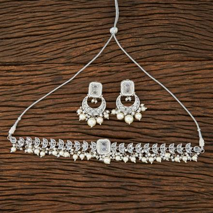 208398 Antique Choker Necklace With Rhodium Plating
