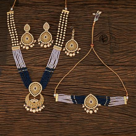 208400 Antique Combo Necklace Sets With Matte Gold Plating