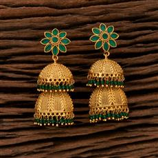 208403 Antique Jhumkis With Matte Gold Plating