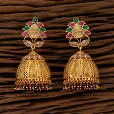 208404 Antique Jhumkis With Gold Plating