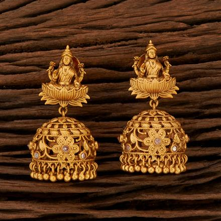 208405 Antique Temple Earring With Matte Gold Plating