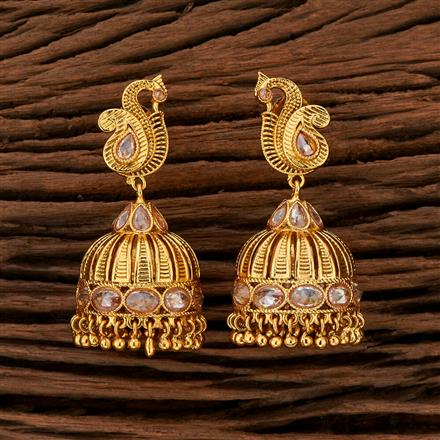 208406 Antique Jhumkis With Gold Plating
