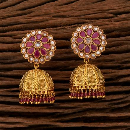 208407 Antique Jhumkis With Gold Plating