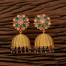 208408 Antique Jhumkis With Gold Plating