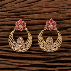 208411 Antique Chand Earring With Gold Plating