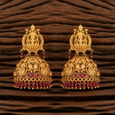 208414 Antique Peacock Earring With Matte Gold Plating