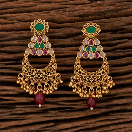 208417 Antique Chand Earring With Gold Plating