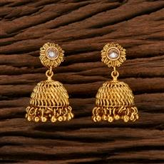 208418 Antique Jhumkis With Gold Plating