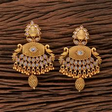 208419 Antique Peacock Earring With Matte Gold Plating