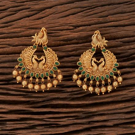 208448 Antique Chand Earring With Matte Gold Plating
