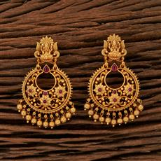 208450 Antique Temple Earring With Matte Gold Plating