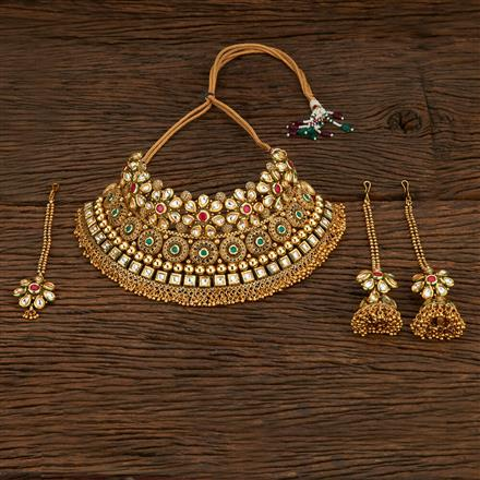 208452 Antique Mukut Necklace With Gold Plating