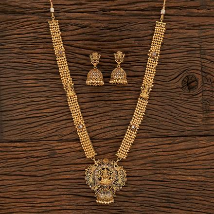 208455 Antique South Indian Necklace With Matte Gold Plating