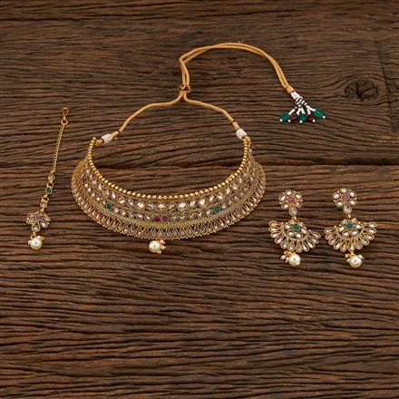 208463 Antique Mukut Necklace With Gold Plating