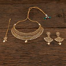 208464 Antique Mukut Necklace With Gold Plating