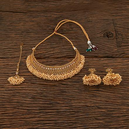 208466 Antique Mukut Necklace With Gold Plating