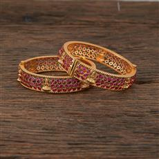 208523 Antique Temple Bangles With Matte Gold Plating