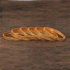 208526 Antique Classic Bangles With Matte Gold Plating
