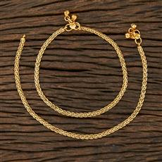 208620 Antique Plain Payal With Gold Plating