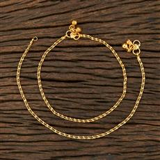 208621 Antique Plain Payal With Gold Plating