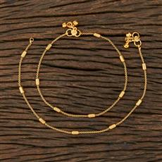 208623 Antique Plain Payal With Gold Plating