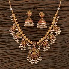 208638 Antique South Indian Necklace With Matte Gold Plating