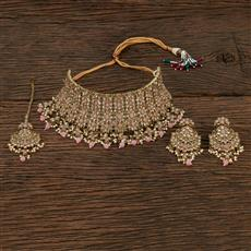 208651 Antique Choker Necklace With Mehndi Plating