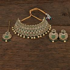 208652 Antique Choker Necklace With Mehndi Plating