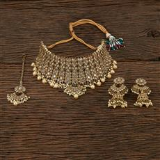 208653 Antique Choker Necklace With Mehndi Plating