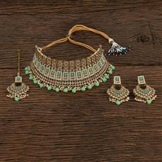 208654 Antique Choker Necklace With Mehndi Plating