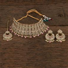 208655 Antique Choker Necklace With Mehndi Plating