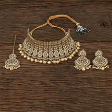 208656 Antique Choker Necklace With Mehndi Plating