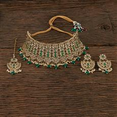208657 Antique Choker Necklace With Mehndi Plating