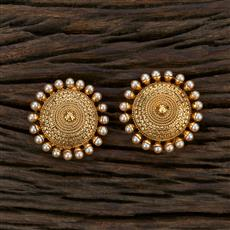 208658 Antique Plain Earring With Gold Plating