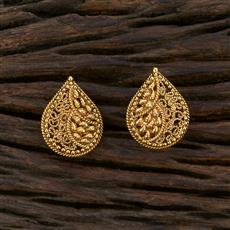 208660 Antique Plain Earring With Gold Plating
