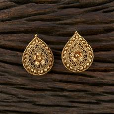 208661 Antique Plain Earring With Gold Plating