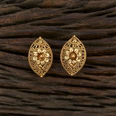 208664 Antique Plain Earring With Gold Plating