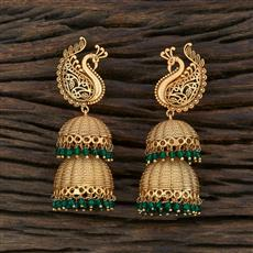 208680 Antique Peacock Earring With Matte Gold Plating