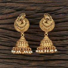 208681 Antique South Indian Earring With Matte Gold Plating